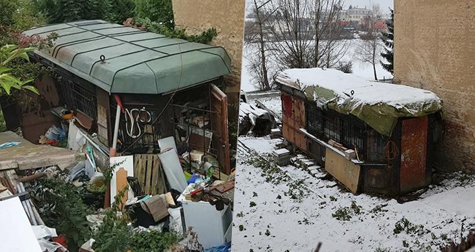 Na snímku vlevo je zahrada domu, který koupil primátor Zdeněk Hřib v roce 2019, vpravo je snímek z ledna 2021.