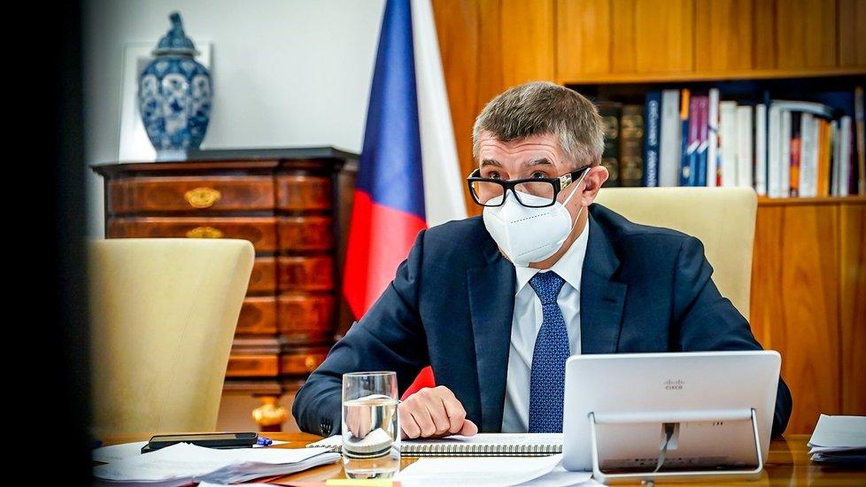 Premiér Andrej Babiš (ANO) na jednání vlády (13. 1. 2021)