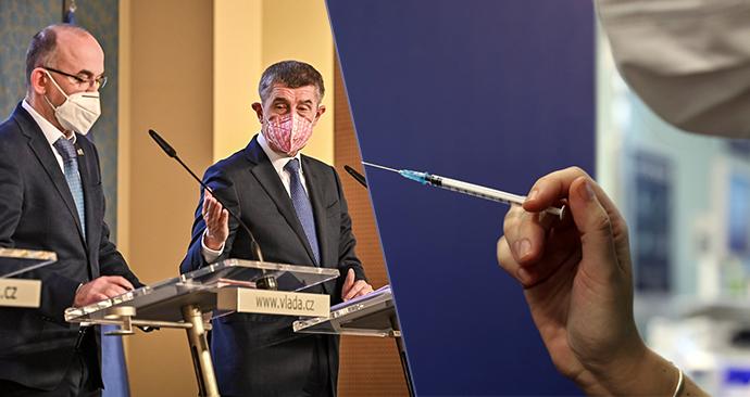Jan Blatný (za ANO, vlevo) a Andrej Babiš (ANO) odložili druhou dávku očkování.