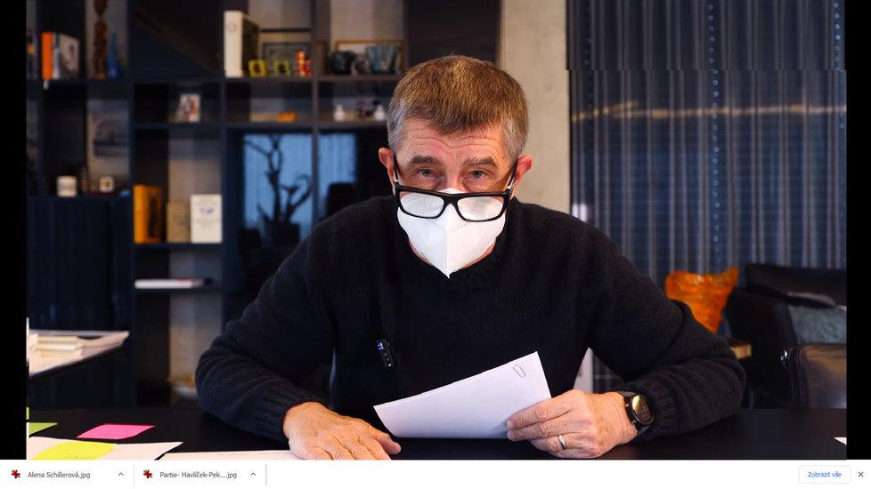 """Premiér Andreje Babiš ve svém pravidelném nedělním hlášení """"Čau lidi"""" (17. 1. 2021)"""