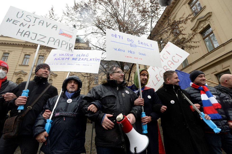 Zástupci a příznivci iniciativy Chcípl PES demonstrují před Úřadem vlády ČR. (29. 1. 2021)