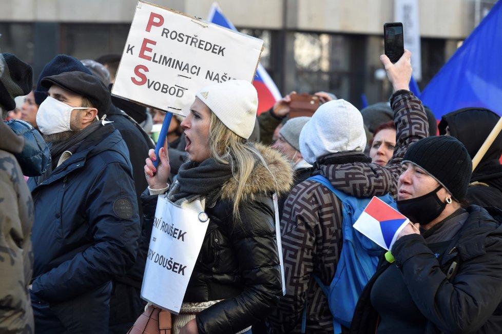 Na Václavském náměstí v Praze se konala 31. 1. 2021 demonstrace iniciativy Chcípl PES. Přišly stovky lidí.