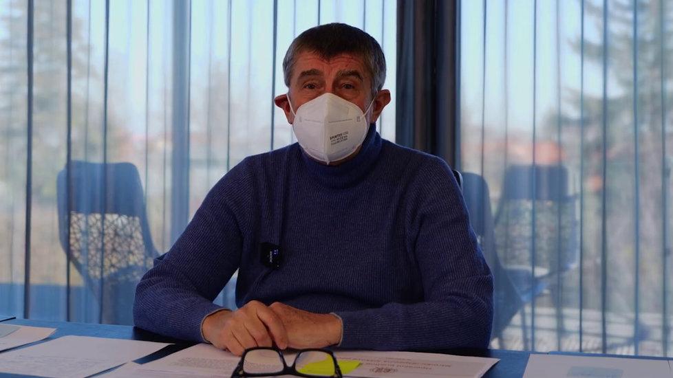 Premiér Andrej Babiš (ANO) v nedělním hlášení Čau lidi (31.1.2021)