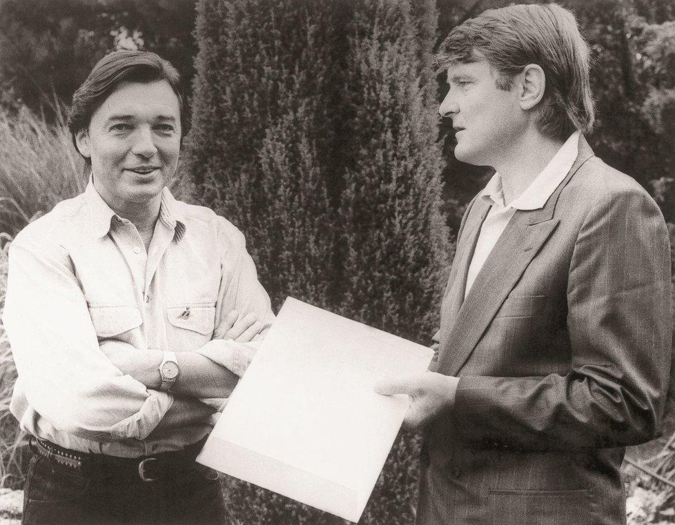 Karel Gott a Ladislav Štaidl v Jevanech koncem 80. let