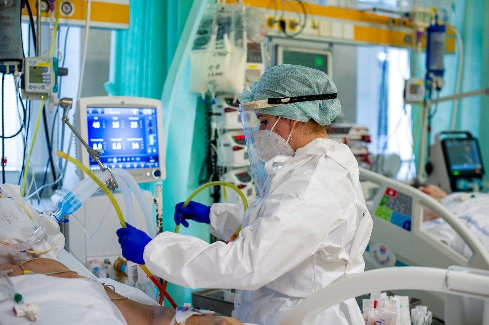 Zdravotnicí na oddělení ARO trutnovské nemocnice (3. 2. 2021)
