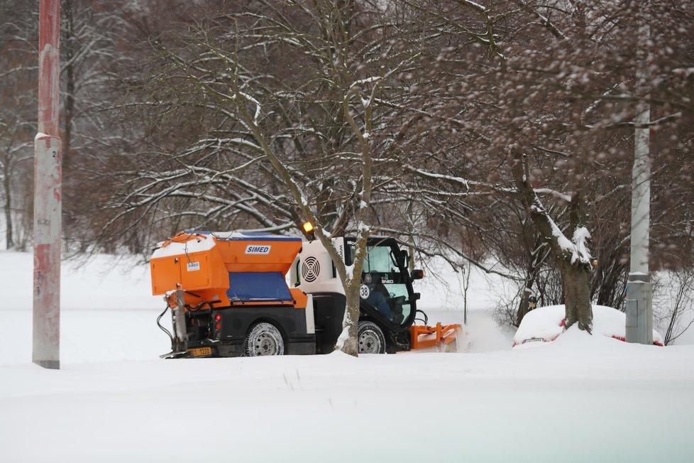 Sníh zasypal Prahu, 8. února 2021.