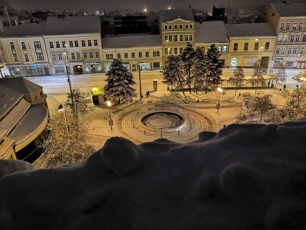 Sníh v Teplicích, 8. února 2021.