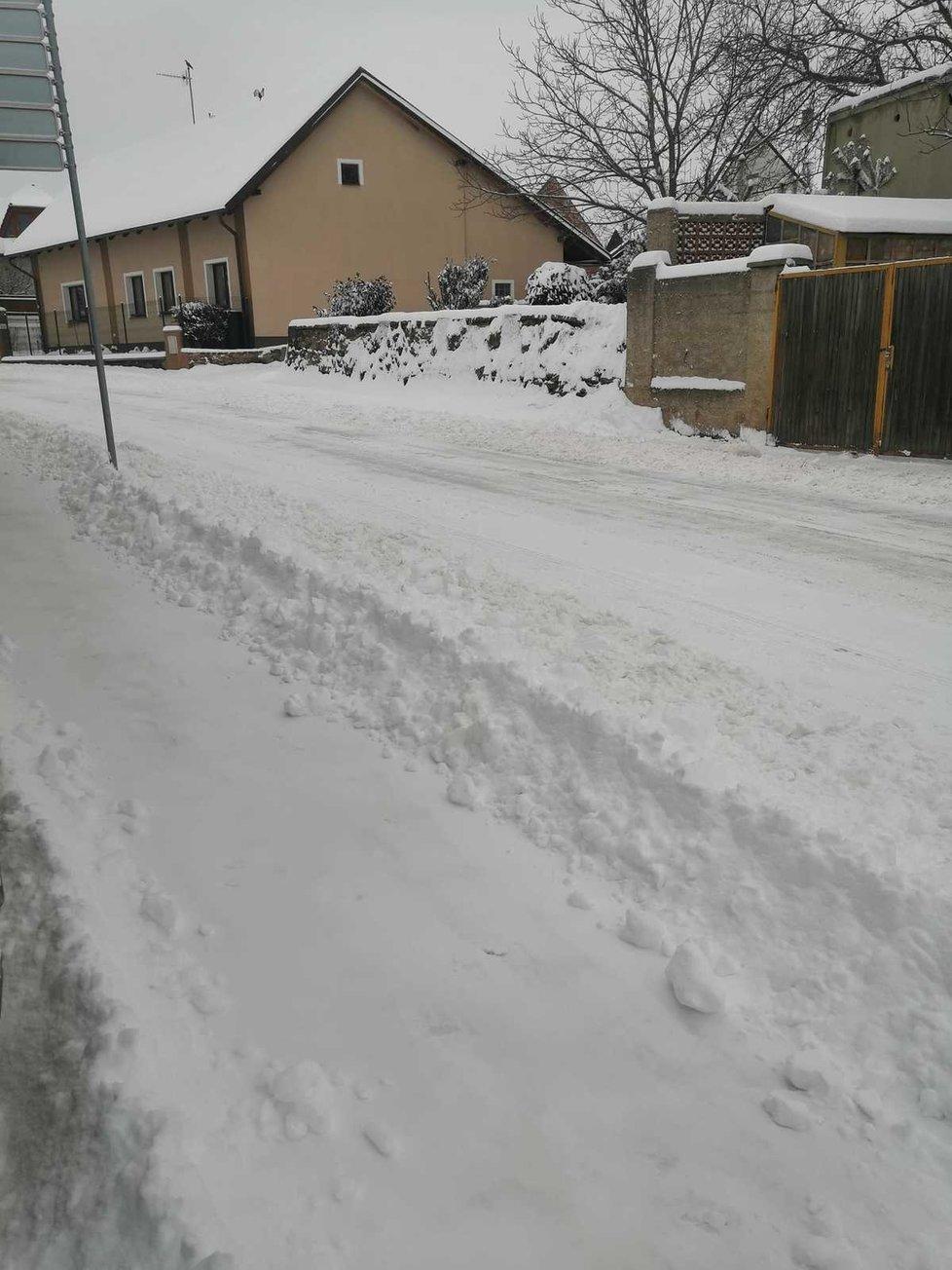 Sníh v Plaňanech u Kolína, 8. února 2021.