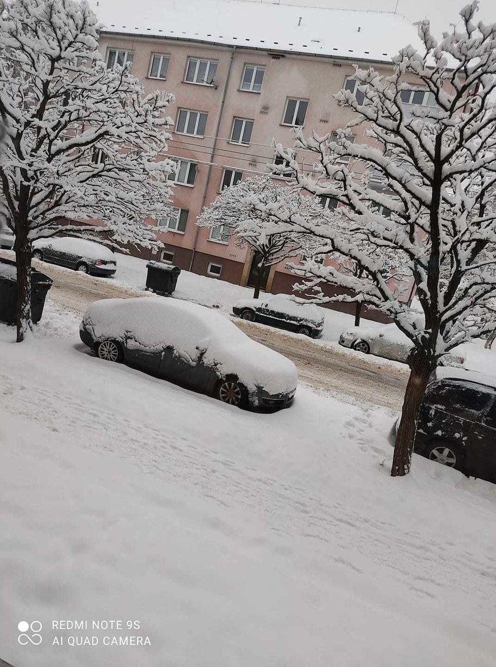 Sníh v Jirkově, 8. února 2021.