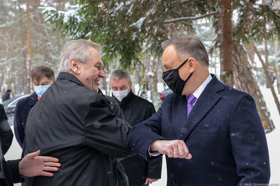 Prezident Miloš Zeman a prezident Andrzej Duda na setkání V4 (9.2.2021)