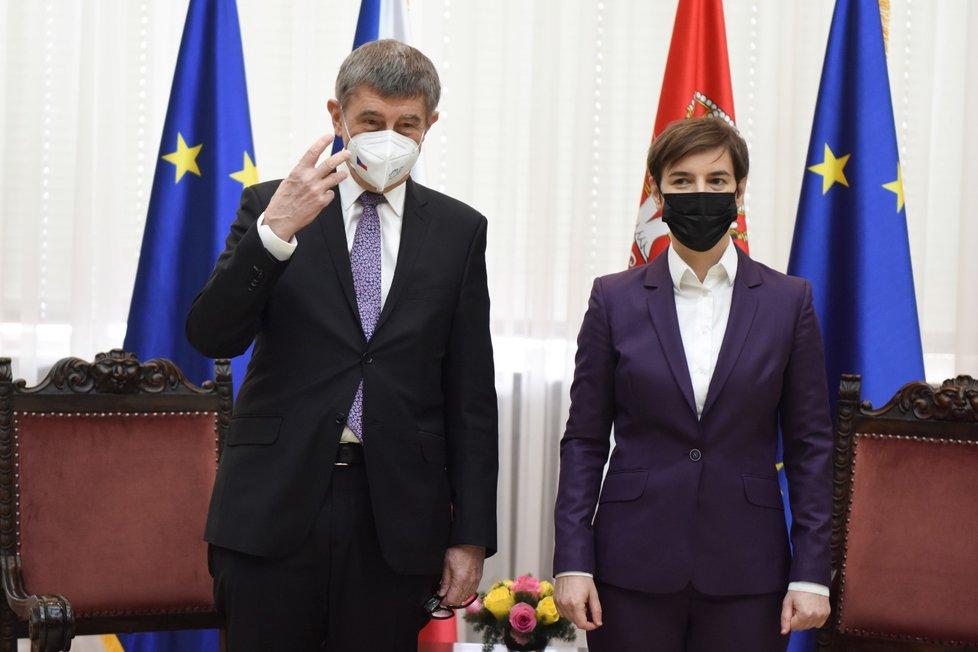 Předseda české vlády Andrej Babiš (ANO) se srbskou premiérkou Anou Brnabičovou v Bělehradě (10. 2. 2021)