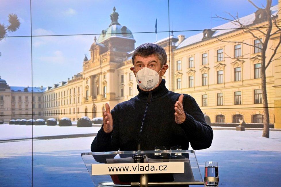 Premiér Andrej Babiš (ANO) na tiskové konferenci po mimořádném jednání vlády (14. 2. 2021)