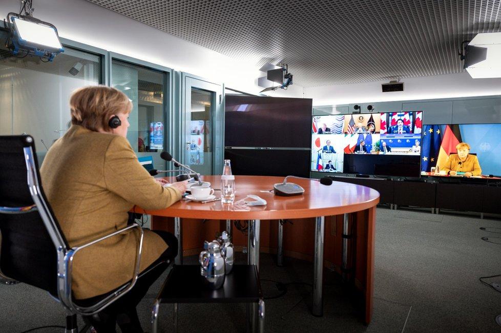 Německá kancléřka Angela Merkelová během konference G7 uskutečněné na dálku (19. 2. 2021)