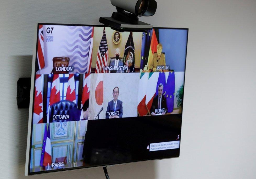 Účastníci konference G7 uskutečněné na dálku (19. 2. 2021)