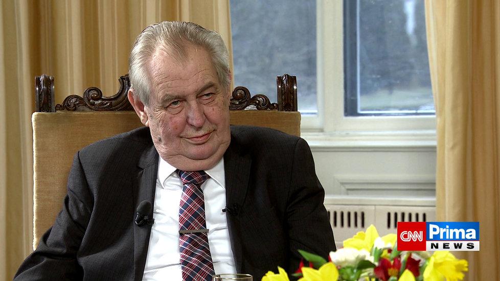 Prezident Miloš Zeman vystoupil v pořadu Partie na CNN Prima News. (28.2.2021)