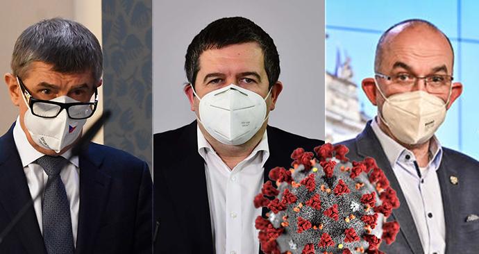 Vláda ČR: Zleva premiér Andrej Babiš (ANO), vicepremiér Jan Hamáček (ČSSD) a ministr zdravotnictví Jan Blatný (za ANO)
