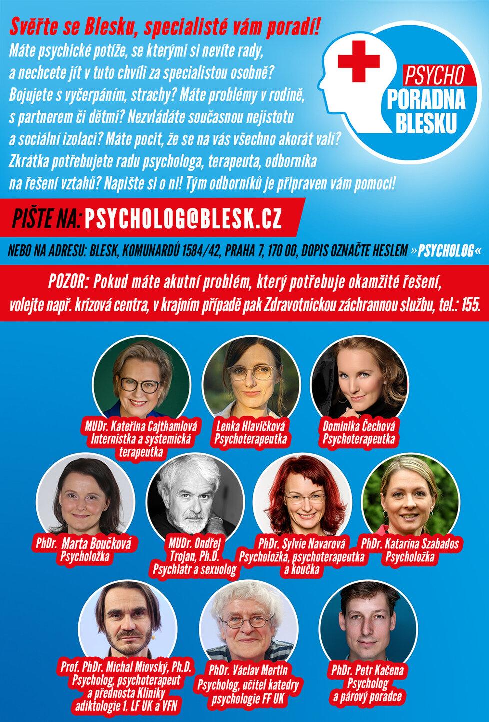 Psychoporadna Blesku: Svěřte se, specialisté vám poradí.