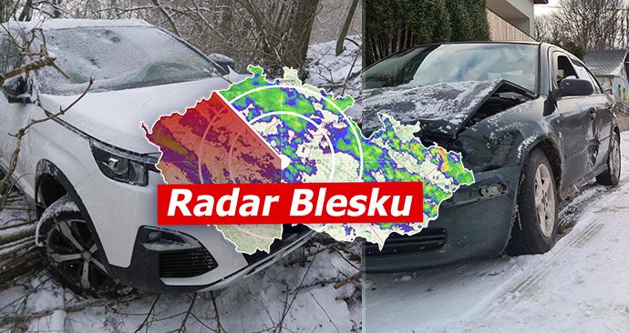 Nový sníh a klouzačka na silnici přinesly nové nehody (8.4.2021)