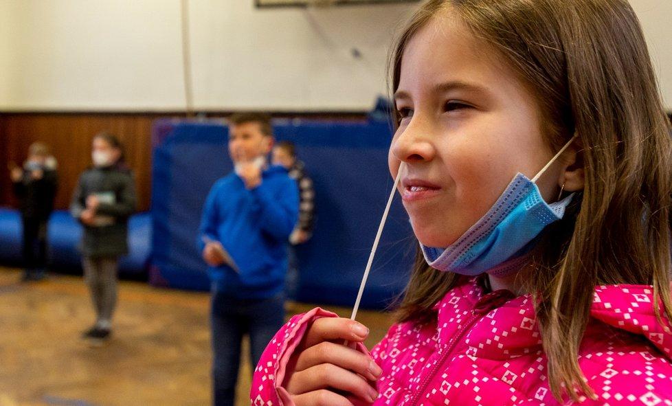 Žáci základní školy Chabařovice na Ústecku si provádí v tělocvičně školy testy na koronavirus. Vláda rozhodla, že žáci prvního stupně základních škol se od tohoto dne vrátí do lavic v rotační formě, ve školách je jen polovina žáků (12. 4. 2021).