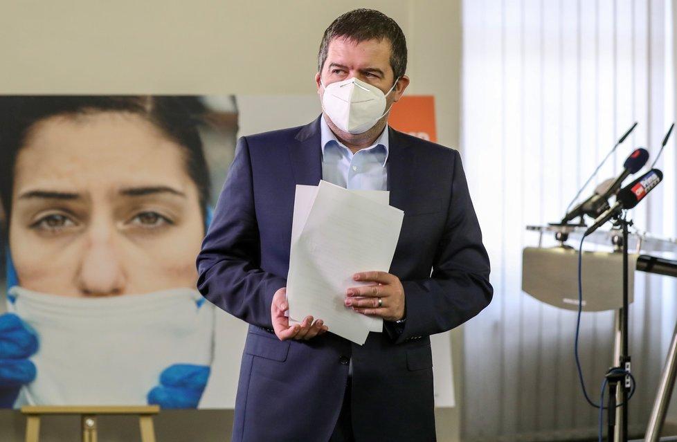 Jan Hamáček na tiskovce ČSSD v Lidovém domě po online sjezdu sociální demokracie (12.4.2021)