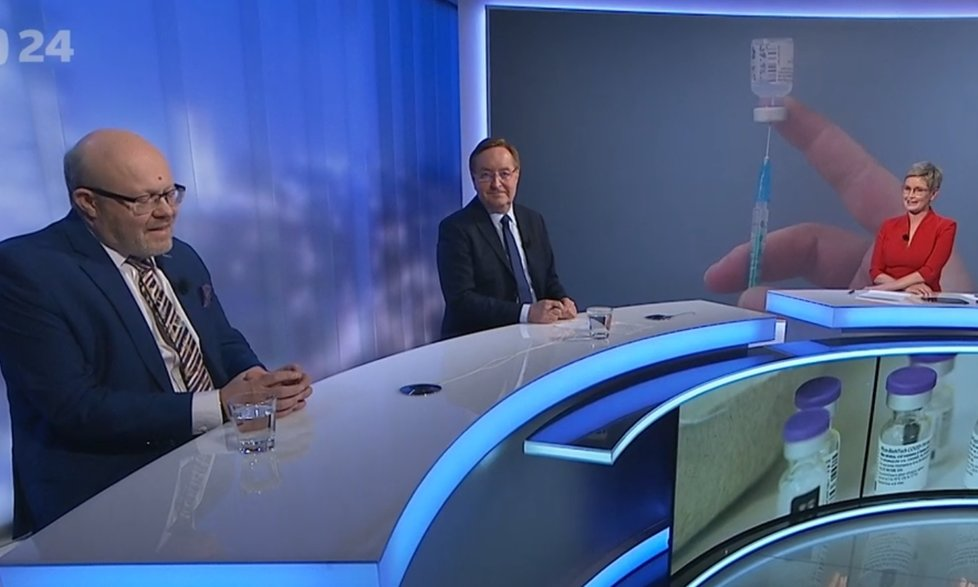 Ministr Arenberger (za ANO) a poslanec Vlastimil Válek (TOP 09) v Událostech, komentářích na ČT (15.4.2021)
