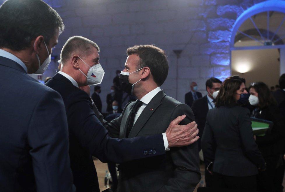 Summit EU: Premiér Andrej Babiš (ANO) s francouzským prezidentem Emmanuelem Macronem (7.5.2021)