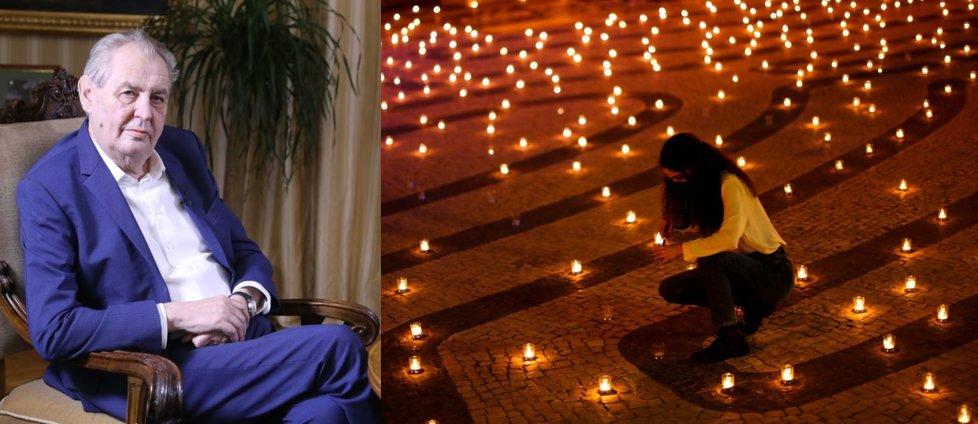 Prezident Miloš Zeman a hořící svíčky: Na Hradě se jich má 10. května rozsvítit 30 tisíc.