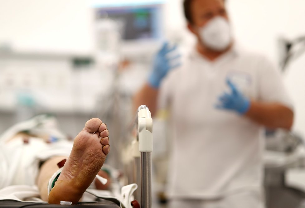 Koronavirus v nemocnici v německém Darmstadtu (17. 5. 2021)