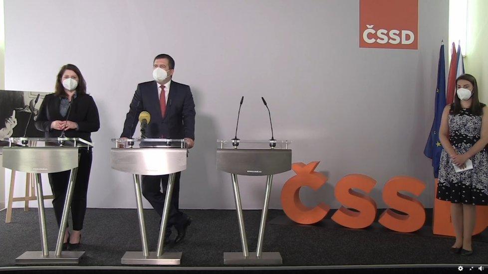 Jan Hamáček a Jana Maláčová na tiskové konferenci ČSSD v Lidovém domě