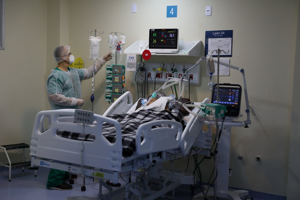 Pacienti s covidem v brazilské nemocnici (19.6.2021)