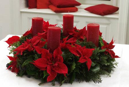 Květinářskou pěnu pravidelně vlhčete, jen tak vám květenství vánoční hvězdy dlouho vydrží