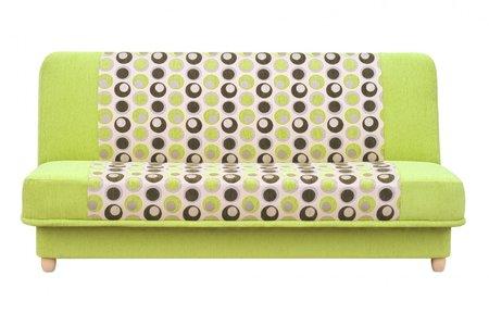 Jednobarevné sofa doplněné geometrickým dezénem je originální. Jenom pozor na výběr doplňků.