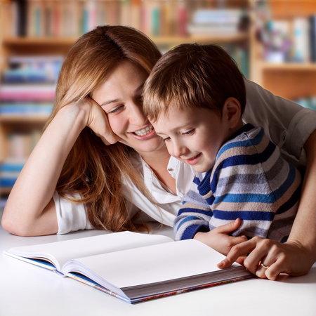 žena, syn, dítě, kniha, učit, učení