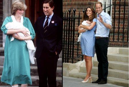 Oblečení ve dny, kdy svět poprvé spatřil prvorozené děti vévodkyň.