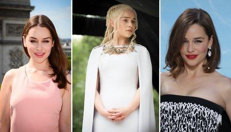 Emilia Clarke před ostřiháním, jako Daenerys Targaryen a se svým novým střihem.