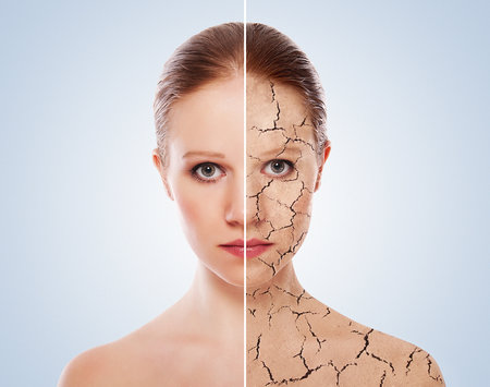 Suchá kůže může značit dehydrataci.