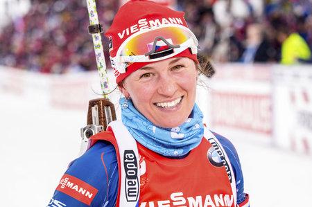 Spokojená Veronika Vítková v cíli sprintu na MS. Bez chyby na střelnici dojela sedmá.