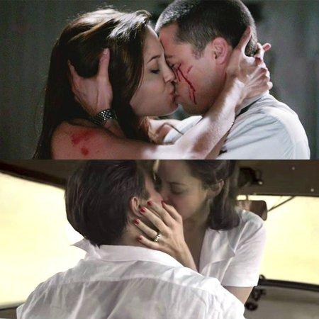 Nahoře: Polibek ve filmu Pan a paní Smithovi (2005), pod tím polibek Brada a Marion Cotillard ve filmu Spojenci (2016)