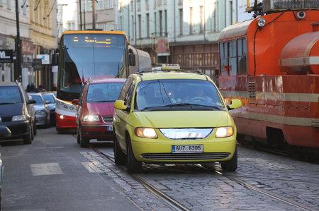Taxikáři 26. února zablokovali Lazarskou a Spálenou ulici v centru Prahy.