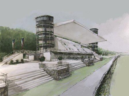 Takto by mohla vypadat tribuna na závodišti ve Velké Chuchli.