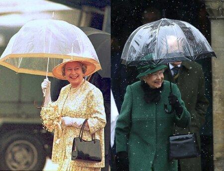 Její styl se opravdu vůbec nezměnil. Tyto fotky jsou z roku 1995 a 2018. Deštník barevně ladí k vıraznému outfitu, nesmí chybět rukavičky ani černá lakovaná kabelka.
