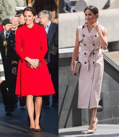 Kate Middleton v roce 2016 na návštěvě v Kanadě a Meghan Markle v Londıně.