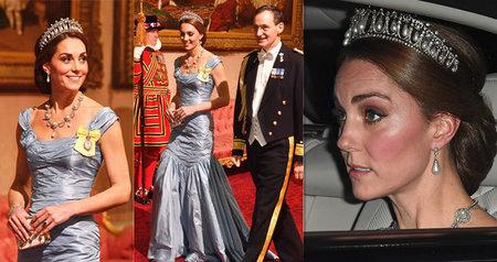 Vévodkyně Kate na státním banketu neokouzlila svými šaty.
