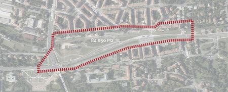 Plocha, na níž by mohla vzniknout čtvrť Dejvice 21. století.