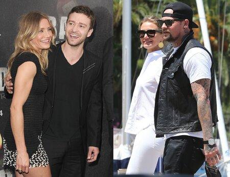Cameron Diaz s Justinem Timberlakem a s nynějším manželem.