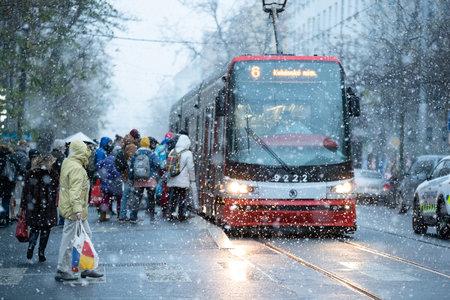 Pátek třináctého v Praze začalo i sněžit (13.12.2019)
