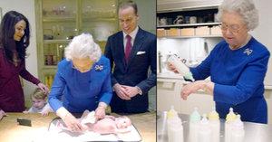 Královna Alžběta na návštěvě pravnučky: Charlotte dokonce nakrmila a přebalila