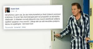 Konečně jsem doma! Karel Gott zdravil fanoušky po první fázi chemoterapie
