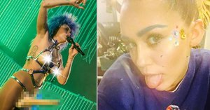 Obří připínák a gumová prsa! Královna nechutností Miley Cyrus to opět rozjela