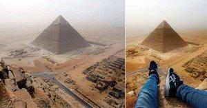 Pohled pro bohy: Mladík vylezl na vrchol nejvyšší egyptské pyramidy a nafotil úžasné snímky